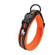 cheap Dog Collars, Harnesses & Leashes-Dog Collar Anti-Slip Reflective Breathable Safety Adjustable Solid Polyester Net Nylon Black Orange Yellow Fuchsia Blue