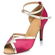 baratos Sapatilhas de Dança-Mulheres Sapatos de Dança Latina Seda Sandália Cruzado Salto Agulha Personalizável Sapatos de Dança Roxo / Fúcsia / Vermelho / Espetáculo