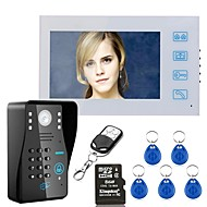 billige Dørtelefonssystem med video-7 opptak rfid passord video dør telefon intercom dørklokk med 8g tf kort nattesyn sikkerhet cctv kamera