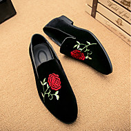 cheap -Men's Comfort Shoes Suede Spring / Fall Chinoiserie Loafers & Slip-Ons Black / EU42