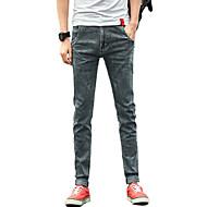 Homens Simples Cintura Média Micro-Elástica Justas/Skinny Jeans Calças, Algodão Poliéster Elastano Todas as Estações Sólido