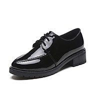 cheap Women's Oxfords-Women's Shoes PU(Polyurethane) Spring Comfort Sneakers Walking Shoes Low Heel Round Toe Lace-up Black