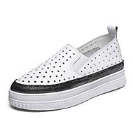 זול מוקסינים לנשים-בגדי ריקוד נשים נעליים עור אביב סתיו נוחות נעליים ללא שרוכים מטפסים בוהן עגולה מנוקד ל קזו'אל שמלה משרד קריירה שחור אפור