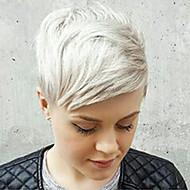baratos -Mulher Perucas de cabelo capless do cabelo humano Prateado Curto Liso Parte lateral