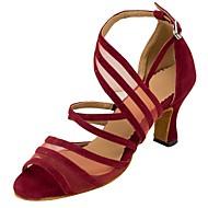 "cheap Latin Shoes-Women's Latin Flocking Net Leatherette Sandal Heel Professional Buckle Paillette Customized Heel Red Khaki 1"" - 1 3/4"" 2"" - 2 3/4"" 3"" - 3"