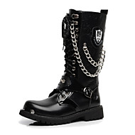 billige -0.6-Herre sko Syntetisk Mikrofiber PU Vinter Høst Kampstøvler Trendy støvler Original Komfort Støvler Støvletter Perlearbeid Snøring Kjede til