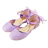 billige -Jente Flate sko Komfort Original Sko til blomsterpiker Kunstlær Høst Vinter Avslappet Formell Paljett Spenne Flat hæl Gull Lilla Rosa Flat
