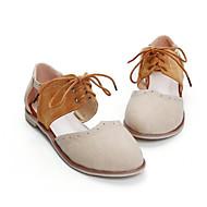 Feminino Sapatos Pele Real Couro Ecológico Verão Conforto Sandálias Para Casual Bege Amêndoa