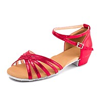 baratos Sapatilhas de Dança-Sapatos de Dança para Criança Couro Envernizado Sandália / Salto Presilha Salto Baixo Personalizável Sapatos de Dança Bege / Vermelho