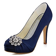 cheap Wedding Shoes-Women's Shoes Stretch Satin Spring Fall Basic Pump Heels Stiletto Heel Round Toe Crystal for Wedding Dress Dark Blue Green Light Pink