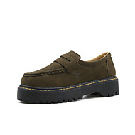 Women's Loafers & Slip-Ons Comfort Gladiator Spring Fall Fleece PU Casual Outdoor Chunky Heel Black Army Green Khaki 1in-1 3/4in