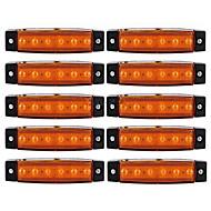 Ziqiao 10db 12v 6led oldaljelző lámpák lámpa autókocsi utánfutó kamionbusz 6 led borostyán / fehér / piros