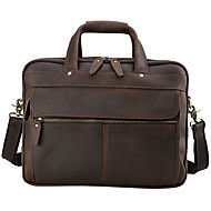 Men Bags All Seasons Cowhide Travel Bag for Casual Outdoor Office & Career Dark Brown