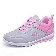 baratos Sapatos Femininos-Mulheres Sapatos Courino Primavera / Outono Conforto Tênis Caminhada Plataforma Ponta Redonda Cadarço Preto / Cinzento / Azul
