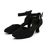 Women's Modern Flocking Faux Suede Heel Practice Cuban Heel Black Customizable