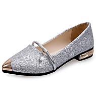 Dame Flate sko Gange T-rem Komfort PU Sommer Avslappet Metalltå Flat hæl Gull Svart Sølv 5 - 7 cm