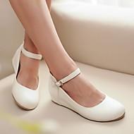 Feminino Sapatos Couro Ecológico Verão Conforto Saltos Anabela Ponta Redonda Para Casual Branco Verde Rosa claro