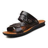 Masculino Sandálias Conforto Couro Ecológico Verão Ar-Livre Rasteiro Preto Marron Khaki Menos de 2,5cm