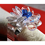 6 PCS Clear Crystal Flower Napkin ring/Holiday Napkin Ring  Acrylic Material Hotel Dining Table / Wedding Party Decoration / Wedding Banquet