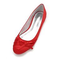 billige Bryllupssko-Dame Sko Sateng Vår / Sommer Komfort / Ballerina bryllup sko Flat hæl Rund Tå Sløyfe / Satengblomst / Blomst Blå / Lysebrun / Krystall