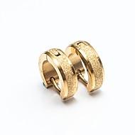 Herre Dame Store øreringe Kvadratisk Zirconium Enkelt design minimalistisk stil Rustfrit Stål Rund form Smykker Til Afslappet Stævnemøde