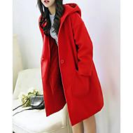 Feminino Casaco Casual Simples Inverno,Sólido Longo Lã Outros Com Capuz Manga Longa