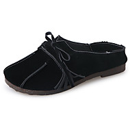 cheap Women's Slip-Ons & Loafers-Women's Loafers & Slip-Ons Comfort Summer PU Walking Shoes Casual Bowknot Flat Heel Black Brown Green 2in-2 3/4in