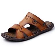 tanie Small Size Shoes-Męskie Buty PU Wiosna Lato Lekkie podeszwy Comfort Sandały Koraliki na Casual Dark Blue Light Brown Khaki