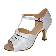 billige Salsasko-Dame Sko til latindans Silke Sandaler Spænde Cubanske hæle Kan tilpasses Dansesko Hvid / Sort / Mandel / Ydeevne / Læder