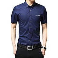 Masculino Camisa Social Casual Tamanhos Grandes Simples Verão Outono,Sólido Algodão Colarinho de Camisa Manga Curta Média