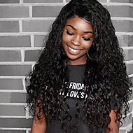 halpa -Naisten Aitohiusperuukit verkolla Brasilialainen Aidot hiukset 360 Frontal 180% Tiheys Vauvantukalla Vesilaine Peruukki Musta