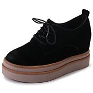 レディース 靴 PUレザー 春 秋 コンフォートシューズ ベーシックサンダル ライト付きソール オックスフォードシューズ ウェッジヒール ラウンドトウ 編み上げ 用途 カジュアル ドレスシューズ ブラック カーキ色
