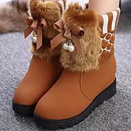 Feminino Sapatos Couro Ecológico Outono Inverno Conforto Botas Rasteiro Ponta Redonda Para Casual Preto Amarelo