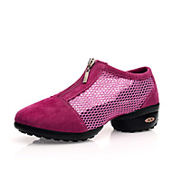 "Women's Dance Sneakers Tulle Sneaker Outdoor Sided Hollow Out Flat Blushing Pink Red Black 1"" - 1 3/4"" Customizable"