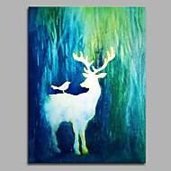 Handgeschilderde Dieren Verticaal,Artistiek Door De Natuur Geinspireerd Anime Pastoraal Modern/Hedendaags Kantoor/Zakelijk Kerstmis