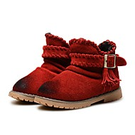 cheap Girls' Shoes-Girls' Shoes Leather Winter Fluff Lining Snow Boots First Walkers Comfort Boots Tassel for Wedding Dress Brown Red Burgundy