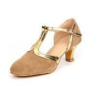 """billige Moderne sko-Dame Moderne Semsket fuskelær Høye hæler Profesjonell Spenne Kubansk hæl Svart og Gull Blå Kakifarget 1 """"- 1 3/4"""""""