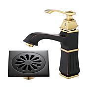 cheap Bathroom Sink Faucets-Centerset Widespread Ceramic Valve Single Handle One Hole Oil-rubbed Bronze, Bathroom Sink Faucet