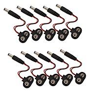 9v clip de bateria acessórios snap com 2.1 x 5.5mm plug dc macho para arduino (10 pack)
