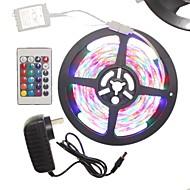 SENCART 5 m Lyssæt 300 lysdioder RGB Fjernbetjening / Chippable / Dæmpbar 100-240V 1set / IP65 / Koblingsbar / Selvklæbende / 2835 SMD