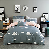 Duvet Cover Sets Cartoon 4 Piece Cotton Reactive Print Cotton 4pcs (1 Duvet Cover, 1 Flat Sheet, 2 Shams) (If Twin size, only 1 Sham or