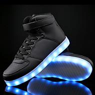 メンズ 靴 レザーレット 秋 冬 ライトアップシューズ コンフォートシューズ スニーカー 面ファスナー LED 編み上げ 用途 カジュアル ホワイト ブラック ブルー