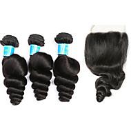 Remy Cabelo Malaio Um Pacote de Solução Ondas Soltas Extensões de cabelo 4 Preto