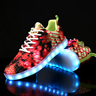 cheap Women's Sneakers-Women's Shoes Canvas Winter Fall Comfort Light Up Shoes Sneakers Flat Heel Round Toe Animal Print LED Lace-up for Casual Party & Evening