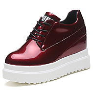 Women's Shoes Patent Leather Spring Fall Comfort Light Soles Oxfords Wedge Heel Round Toe Lace-up For Office & Career Dress Burgundy