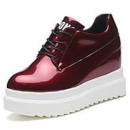 נשים נעליים עור פטנט אביב סתיו נוחות סוליות מוארות נעלי אוקספורד עקב וודג' בוהן עגולה שרוכים עבור שמלה שחור אפור בהיר ורוד בורדו