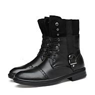 Masculino sapatos Pele Real Pele Napa Pele Outono Inverno Botas da Moda Botas de Moto Curta/Ankle Botas Botas Curtas / Ankle Botas Cano