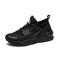 Men's Shoes Pigskin Tulle Fall Winter Comfort Light Soles Sneakers Lace-up For Athletic Casual Black/White Black White