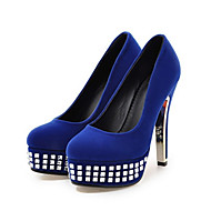 cheap Extended-Size Shoes-Women's Shoes Suede Spring Fall Comfort Novelty Heels Stiletto Heel Round Toe Crystal For Wedding Party & Evening Blue Red Black