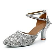"""billige Moderne sko-Dame Moderne Paljett Kustomiserte materialer Høye hæler Innendørs Kustomisert hæl Gull Svart Sølv 2 """"- 2 3/4"""" Kan spesialtilpasses"""